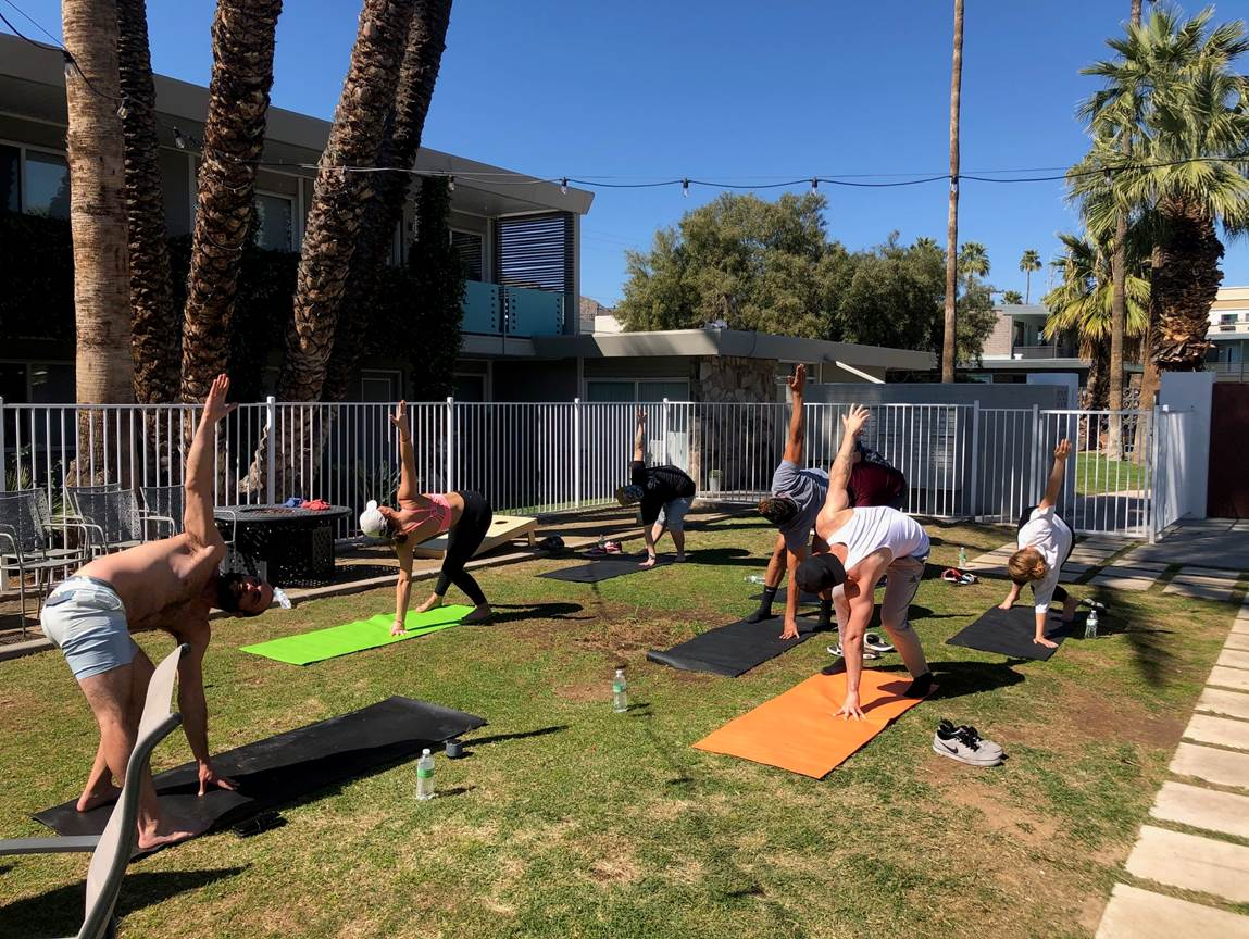 Group yoga class outside